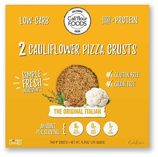 "<p>Cauliflower crust is one of our favorite ways to have a low-carb pizza fix, but packaged options can sneak in tons of added carbs. That's why we like these <a href=""https://www.popsugar.com/buy/Califlour-Foods-Original-Italian-Cauliflower-Pizza-Crusts-420194?p_name=Cali%27flour%20Foods%20Original%20Italian%20Cauliflower%20Pizza%20Crusts&retailer=amazon.com&pid=420194&price=24&evar1=fit%3Aus&evar9=45899666&evar98=https%3A%2F%2Fwww.popsugar.com%2Ffitness%2Fphoto-gallery%2F45899666%2Fimage%2F45899667%2FCaliflour-Foods-Original-Italian-Cauliflower-Pizza-Crusts&list1=shopping%2Camazon%2Cdinner%2Cpizza%2Clow-carb&prop13=mobile&pdata=1"" rel=""nofollow"" data-shoppable-link=""1"" target=""_blank"" class=""ga-track"" data-ga-category=""Related"" data-ga-label=""https://www.amazon.com/Califlour-Gluten-Cauliflower-Original-Italian/dp/B075312HXS/ref=sr_1_4?keywords=low%2Bcarb%2Bpizza&amp;qid=1552328052&amp;s=gateway&amp;sr=8-4&amp;th=1"" data-ga-action=""In-Line Links"">Cali'flour Foods Original Italian Cauliflower Pizza Crusts</a> ($24); they've only got 2 grams of carbs.</p>"