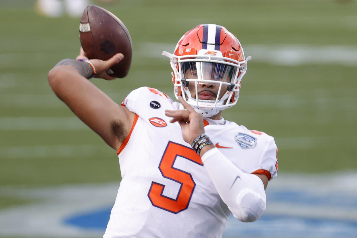 CHARLOTTE, NORTH CAROLINA - DECEMBER 19: Quarterback D.J. Uiagalelei #5 of the Clemson Tigers warms up before the ACC Championship game against the Notre Dame Fighting Irish at Bank of America Stadium on December 19, 2020 in Charlotte, North Carolina. (Photo by Jared C. Tilton/Getty Images)