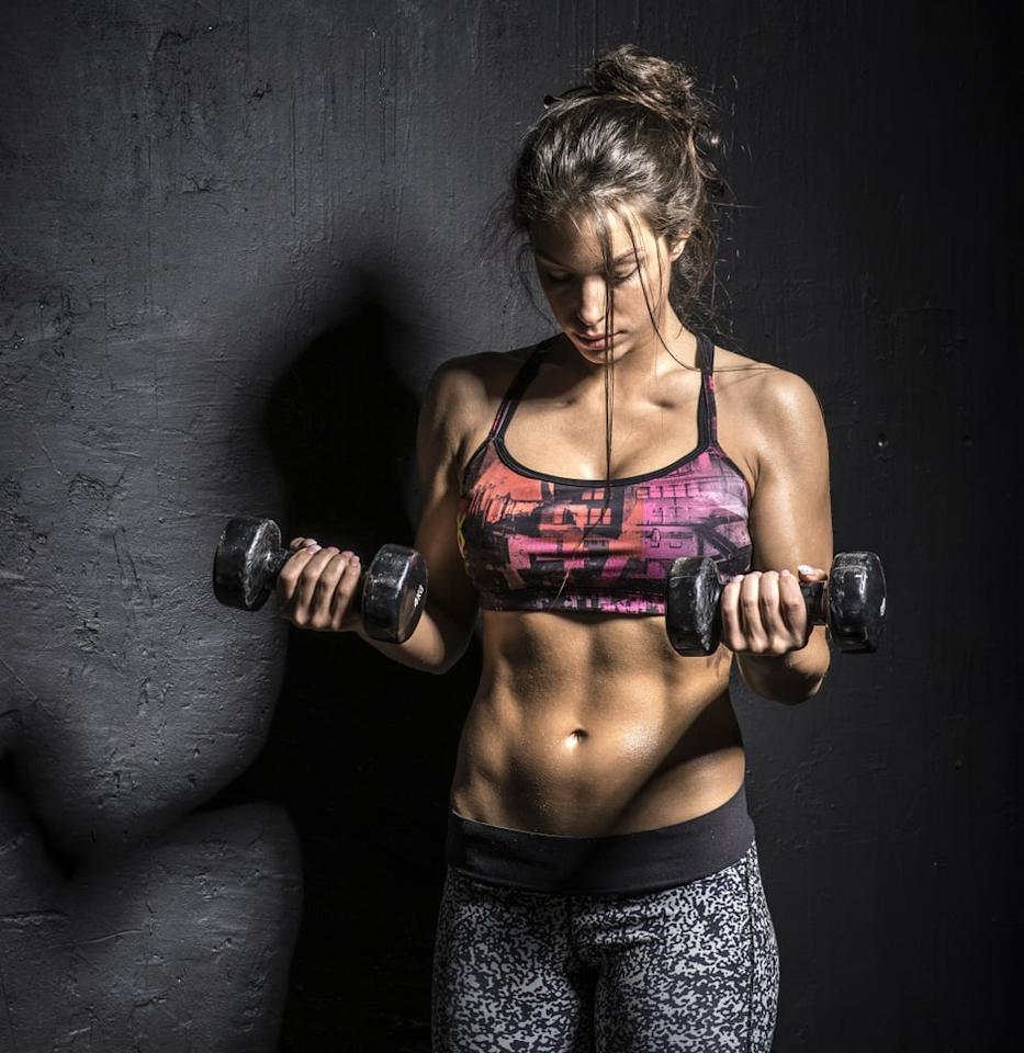 """<p><strong>Equipment needed:</strong> pair of light- to medium-weight dumbbells (three to 15 pounds)</p> <p>This <a href=""""https://www.popsugar.com/fitness/Workout-Fat-Loss-45246985"""" class=""""ga-track"""" data-ga-category=""""Related"""" data-ga-label=""""https://www.popsugar.com/fitness/Workout-Fat-Loss-45246985"""" data-ga-action=""""In-Line Links"""">40-minute HIIT workout</a> combines bodyweight moves with basic dumbbell exercises like high-knee skips and sumo squats.</p>"""