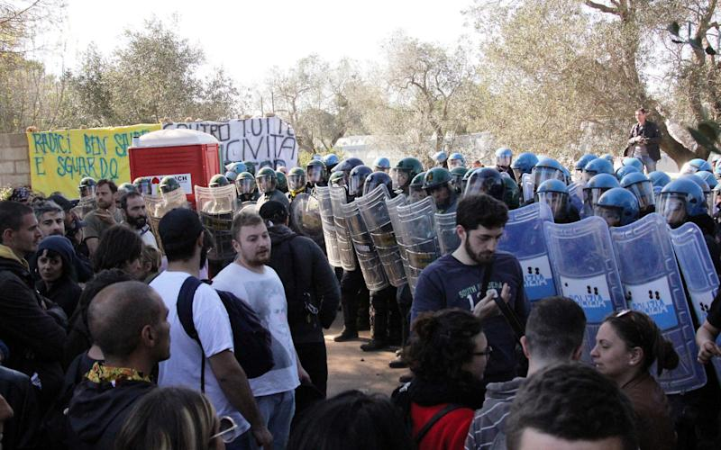 Protestors and Poilice tension over removal of many olive trees in the province of Lecce - Credit: DFF/Splash News