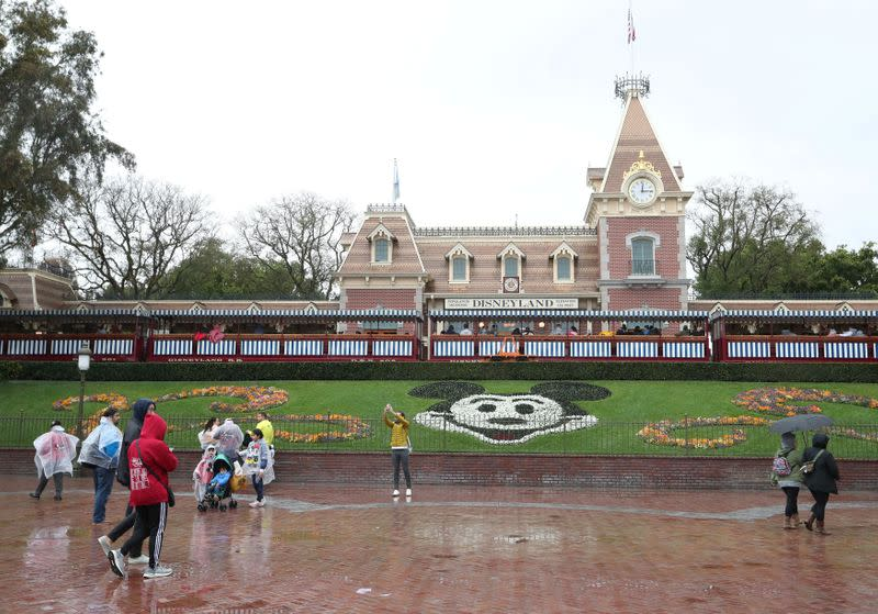 A general view of the entrance of Disneyland theme park in Anaheim