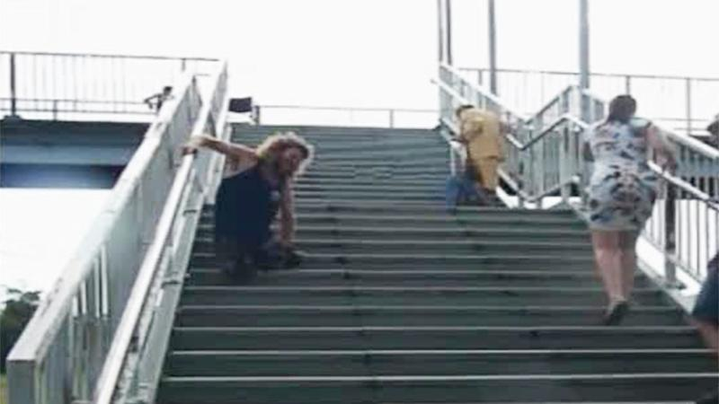 Disabled train commuters forced to struggle up stairs