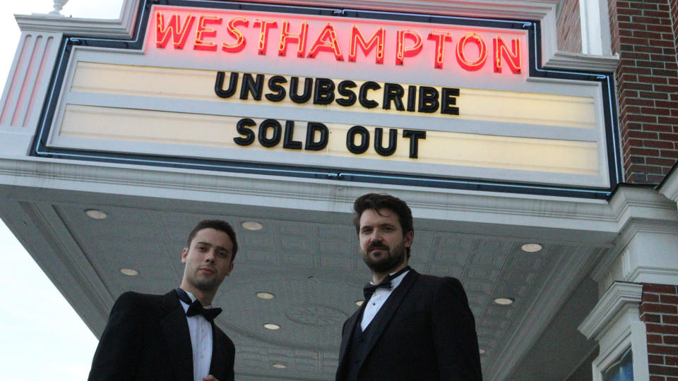 Eric Tabach and Christian Nillson outside the sold-out showing of their film 'Unsubscribe'. (Credit: Facebook/Christian Nilsson)