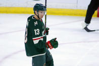 Minnesota Wild center Nick Bonino (13) celebrates his goal against the Vegas Golden Knights in the first period during an NHL hockey game, Monday, May 3, 2021, in St. Paul, Minn. (AP Photo/Andy Clayton-King)