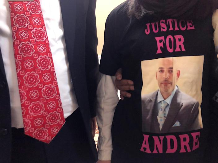 <p>FILE - Andre Hill, fatally shot by Columbus police, is memorialized on a shirt worn by his daughter, Karissa Hill</p> ((AP Photo/Andrew Welsh-Huggins))