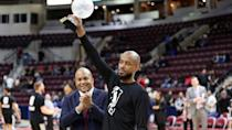 <p>Lorenzo Brown accepts his G League MVP award. Brown averaged 18.8 points and 8.9 assists during the 2017-18 season, leading the 905 to a second straight finals appearance. Yahoo Sports confirmed after the game that the Toronto Raptors plan to sign Brown for the remainder of the NBA season. (Photo courtesy: Trung Ho) </p>