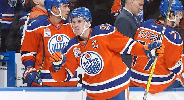 """The <a class=""""link rapid-noclick-resp"""" href=""""/nhl/teams/edm/"""" data-ylk=""""slk:Edmonton Oilers"""">Edmonton Oilers</a> are off to a 2-0 lead in their second-round series against the Ducks, and suddenly they're the favourite to win the Stanley Cup. (Getty Images)"""