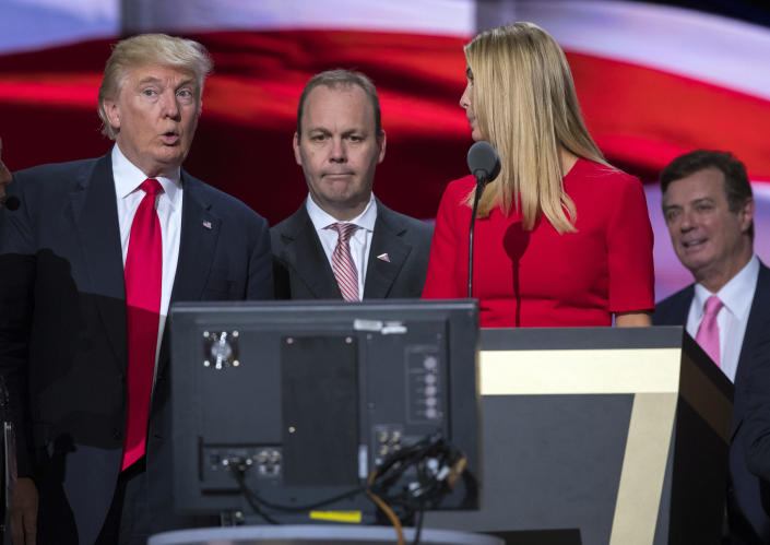 Then-Trump campaign manager Paul Manafort, right, then-Republican presidential candidate Donald Trump and Manafort's chief deputy, Rick Gates, center, with Ivanka Trump as she rehearses for the Republican National Convention in Cleveland on July 21, 2016. (Photo: Evan Vucci/AP)
