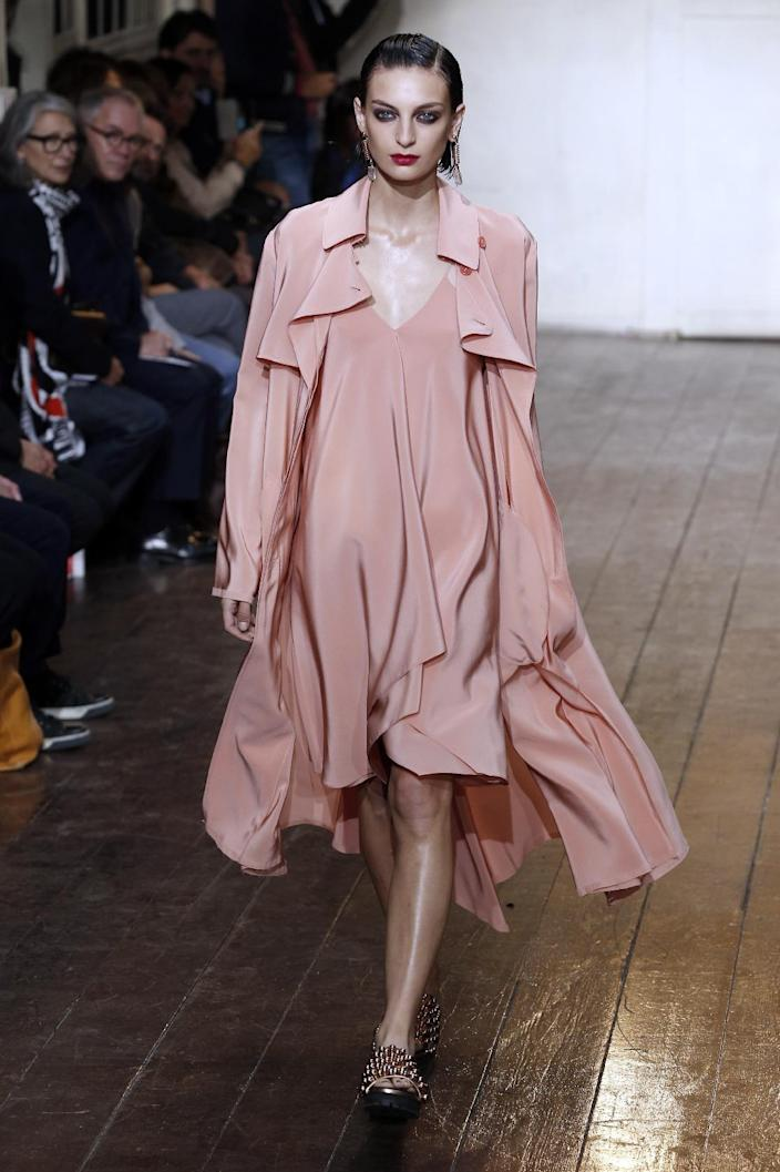 A model presents a creation by Cedric Charlier