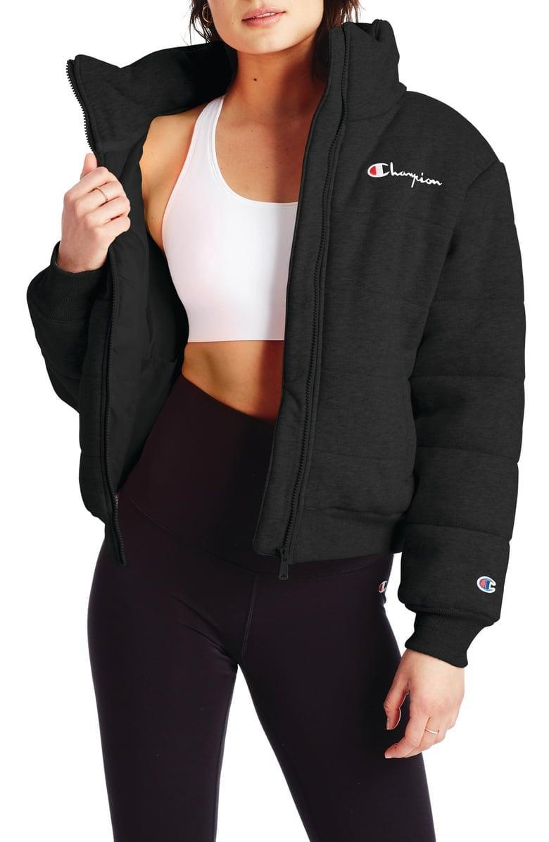 <p>You'll be nice and warm in this cool <span>Champion Reverse Weave Quilted Puffer Jacket</span> ($125).</p>
