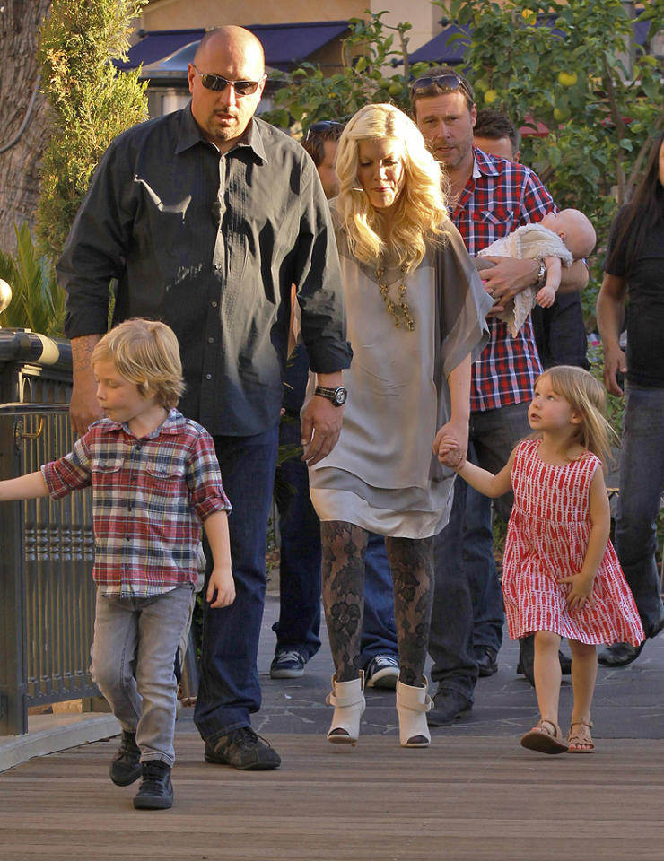 "Actress-turned-reality star Tori Spelling and her husband Dean McDermott took their trio of little ones -- Liam, 4, Stella, 3, and Hattie, three months -- to an interview with ""Extra"" at outdoor shopping mall The Grove in L.A. Wednesday. (01/25/2012)"