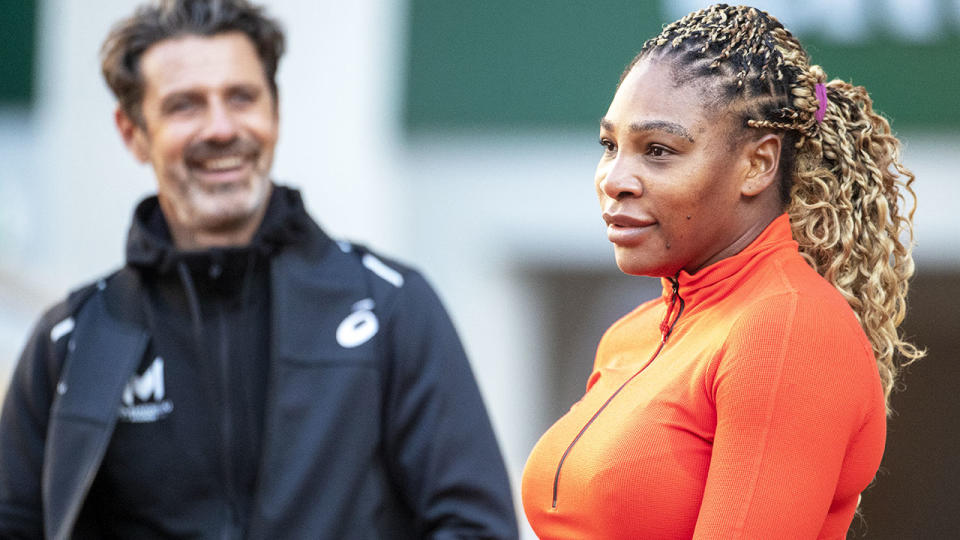 Serena Williams and Patrick Mouratoglou, pictured here at the French Open in 2020.