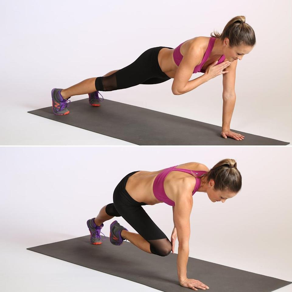 <ul> <li>Begin in a plank variation with your feet slightly wider than your hips. </li> <li>Bring your right hand to your left shoulder, then place that hand back on the mat. Bring your left hand to your right shoulder and return it to the mat. </li> <li>Bring your right knee and your left hand toward one another under your body; return to plank and switch sides so your left knee meets your right hand. This completes one rep.</li> </ul>