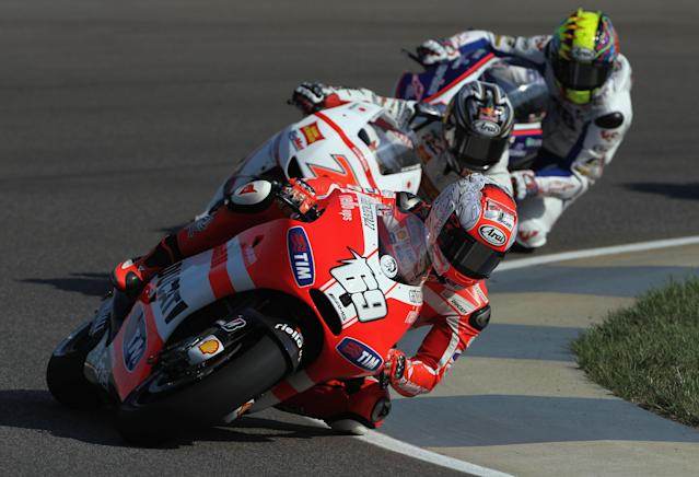 INDIANAPOLIS, IN - AUGUST 27: Nicky Hayden #69 of the USA in action during Moto GP practice at Indianapolis Motorspeedway on August 27, 2011 in Indianapolis, Indiana. (Photo by Jamie Squire/Getty Images)