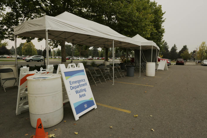 An outdoor emergency department waiting area is photographed at Kootenai Health, Friday, Sept. 10, 2021, in Coeur d'Alene, Idaho. Northern Idaho has a long and deep streak of antigovernment activism that is confounding attempts to battle a COVID-19 outbreak. (AP Photo/Young Kwak)