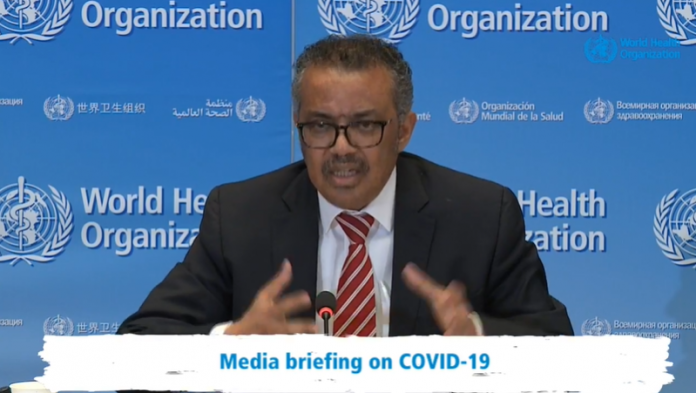 WHO head, Tedros Ghebreyesus speaks at an event(Photo/Screengrab of WHO live broadcast)