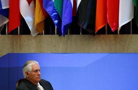 U.S. Secretary of State Rex Tillerson listens to remarks at the morning ministerial plenary for the Global Coalition working to Defeat ISIS at the State Department in Washington