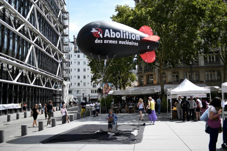 A protest in Paris last month calling for the abolition of nuclear weapons, an issue taken up at the United Nations where 51 countries are signing onto a ban