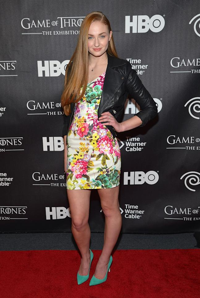 "NEW YORK, NY - MARCH 27:  Actress Sophie Turner attends ""Game Of Thrones"" The Exhibition New York Opening at 3 West 57th Avenue on March 27, 2013 in New York City.  (Photo by Mike Coppola/Getty Images)"