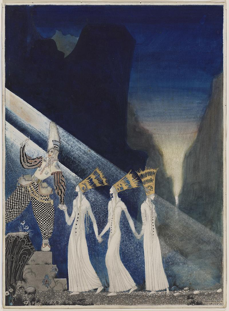 """As soon as they tugged at the rope, the Captain and the Lieutenant pulled up the Princesses, the one after the other."" Illustration from ""The Three Princesses in the Blue Mountain,"" from East of the Sun and West of the Moon. Kay Nielsen, 1914. Transparent and opaque watercolor, pen and brush and ink, metallic paint, over graphite. Promised gift of Kendra and Allan Daniel."