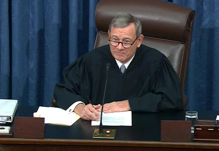 Chief Justice John Roberts, seen here presiding over the impeachment trial of President Donald Trump, will have a big influence over the flood of lawsuits expected after Election Day 2020.
