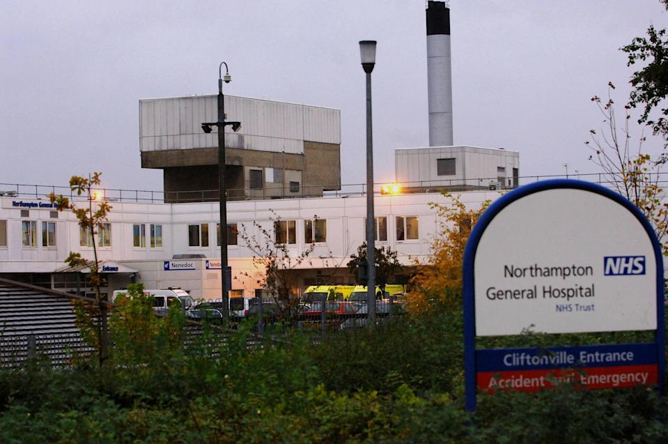 A general view of Northampton General Hospital where a man died today after apparently shooting himself on a hospital ward.