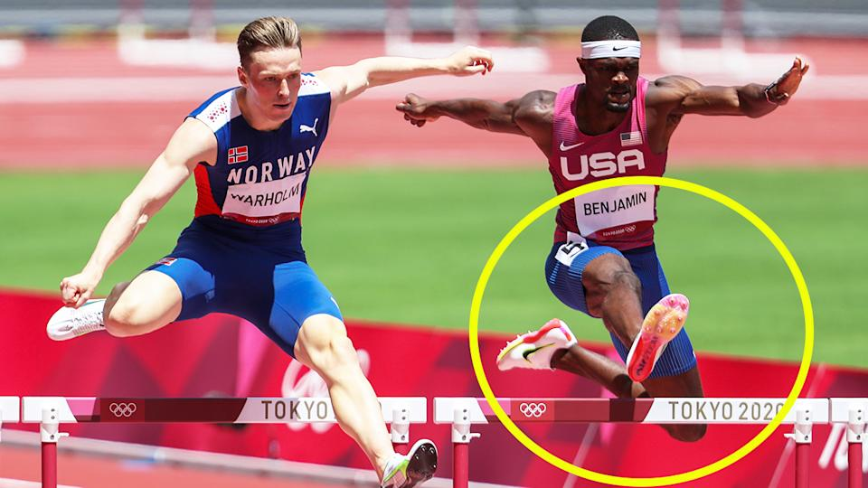Karsten Warholm (pictured left) jumping a hurdle next to Rai Benjamin (pictured right) during the 400m hurdle final at the Olympics.