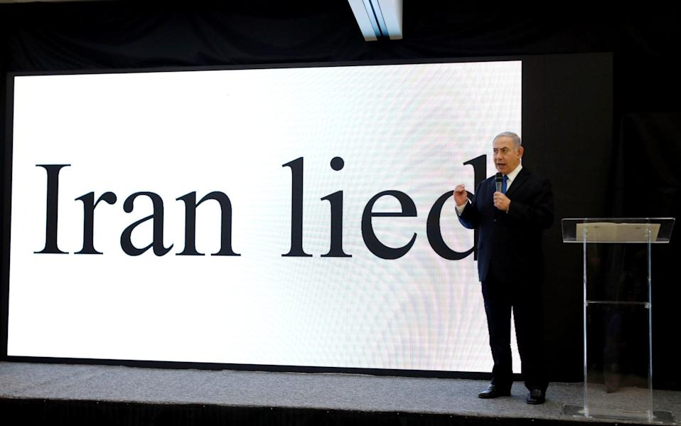 Israeli Prime minister Benjamin Netanyahu speaks during a news conference on Iran's nuclear programme at the Ministry of Defence in 2018 - AMIR COHEN /Reuters