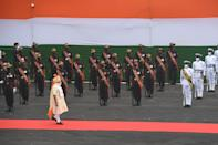 Prime Minister Narendra Modi (C) reviews a guard of honour during a ceremony to celebrate India's 74th Independence Day at the Red Fort in New Delhi on August 15, 2020. (Photo by PRAKASH SINGH/AFP via Getty Images)