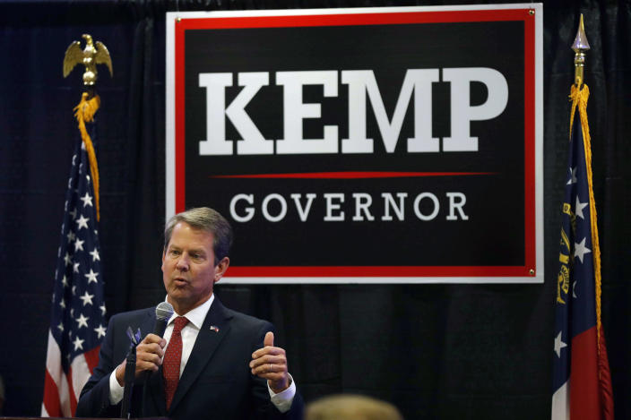 Brian Kemp, the Republican nominee for Georgia governor, speaks at a rally in Athens, Ga., on Tuesday. (Photo: Joshua L. Jones/Athens Banner-Herald via AP)
