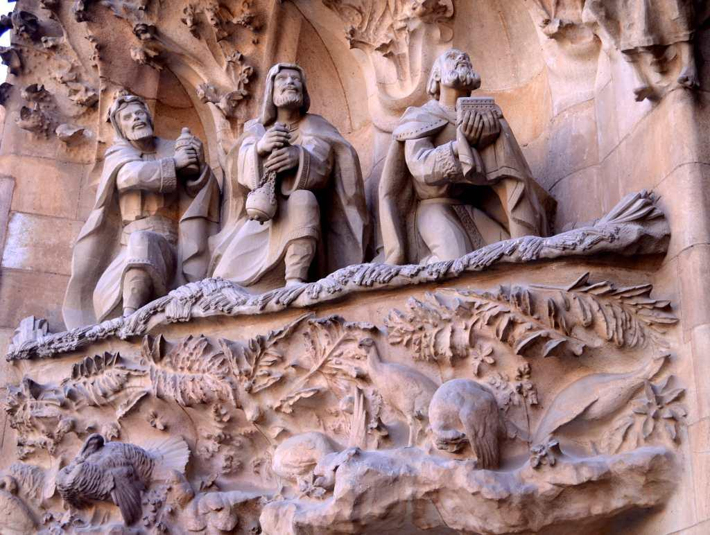The façade is one of the most striking aspects of the church. Intricate and filled with carvings, it shows the Passion Façade in the West, the Nativity in the East, and the Glory in the South, which is still being constructed. The Nativity Façade, which shows images from Christ's birth, has Gaudi's typical architectural stamp in its symbolism and it is meant to embody the very design of the church . It represents Christmas and is known as the Façade of Life.