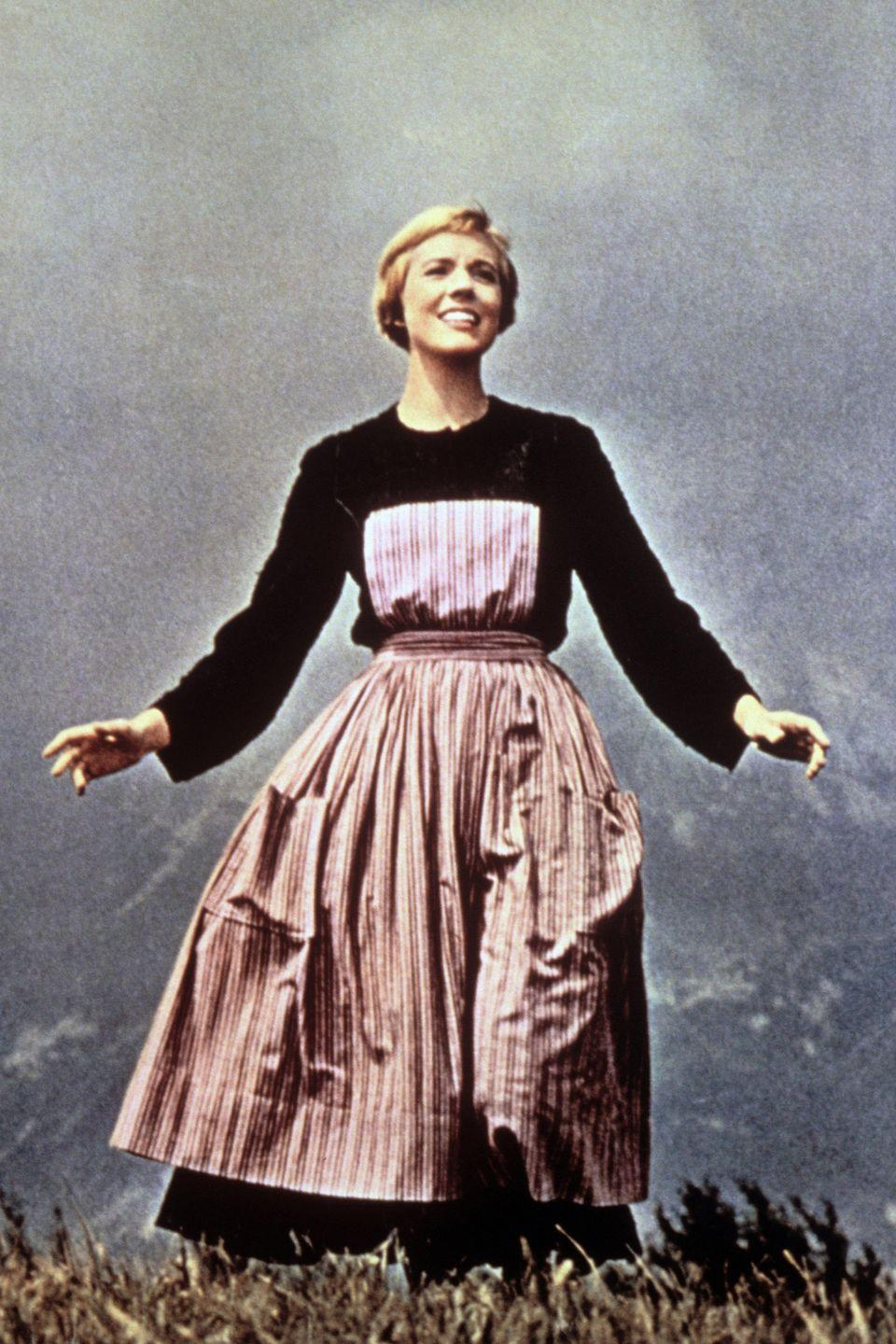 """<p>The hills came alive in the <em>Sound of Music</em>, and this iconic get-up Andrews wore during that famous number was <a href=""""http://www.marieclaire.co.uk/fashion/9-most-expensive-oscar-dresses-of-all-time-108690"""" rel=""""nofollow noopener"""" target=""""_blank"""" data-ylk=""""slk:sold"""" class=""""link rapid-noclick-resp"""">sold</a> for over 1.5 million dollars. </p>"""