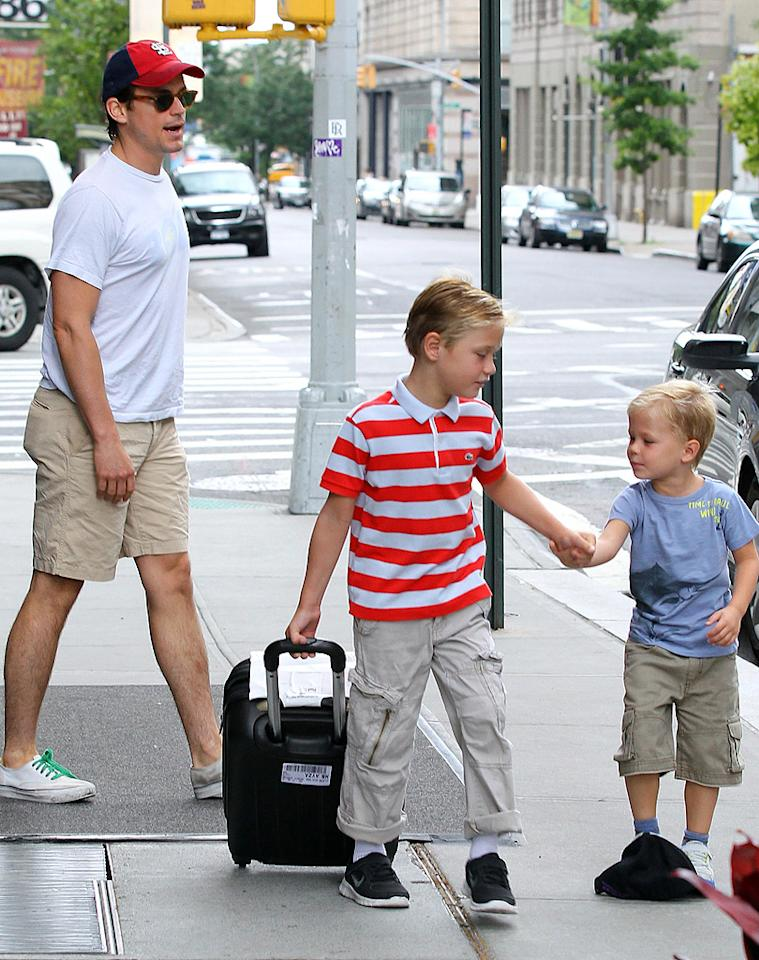 Matt Bomer And His Sons Hug It Out