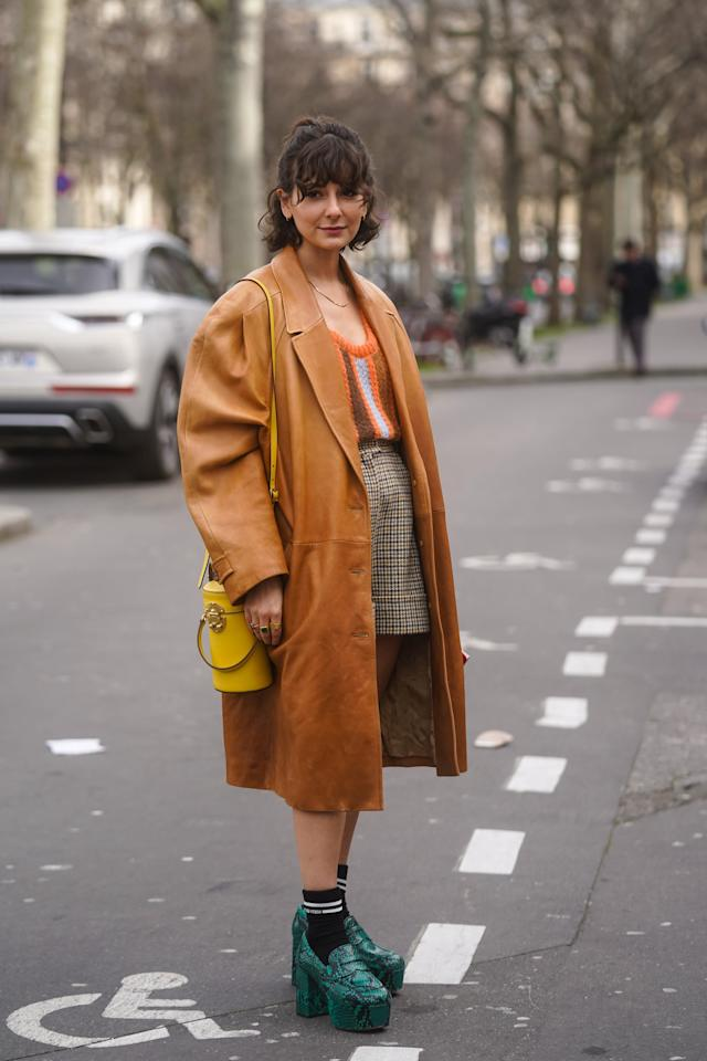 <p>For a modern preppy vibe, style a pair of platform loafers with tailored shorts and a cute sweater. An oversized jacket is a fashion-forward finish. </p>
