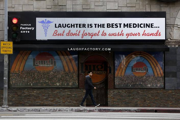The marquee at the Laugh Factory on Sunset Blvd. after it was closed due to the coronavirus.