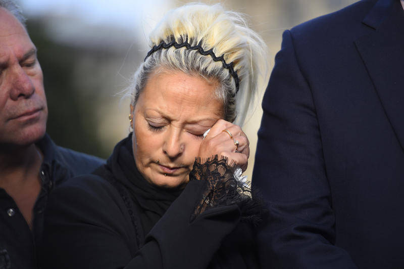 LONDON, ENGLAND - OCTOBER 09: Mother of Harry Dunn, Charlotte Charles speaks to the media after meeting with Foreign Secretary Dominic Raab on October 9, 2019 in London, England. Motorcyclist Harry Dunn, 19, died in a collision with a car in Northamptonshire on August 27th. Anne Sacoolas, the wife of a US diplomat, was named as a suspect in the crash but later left the UK despite telling police she had no such plans. (Photo by Peter Summers/Getty Images)