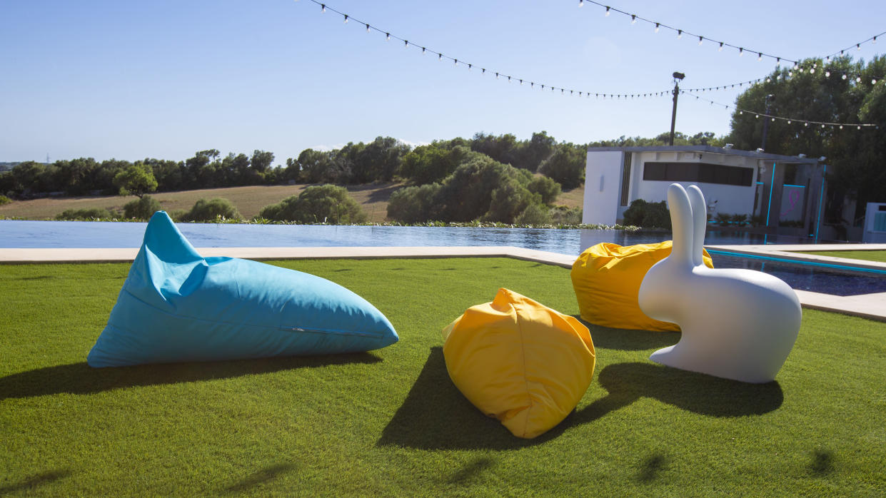 The 'Love Island' villa is decked out with colourful bean bags. (ITV)