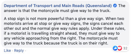 Queensland Department of Transport and Main Roads posted the answer to the quiz on Facebook.