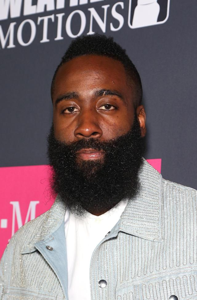 <p>NBA player James Harden arrives on T-Mobile's magenta carpet duirng the Showtime, WME IME and Mayweather Promotions VIP Pre-Fight Party for Mayweather vs. McGregor at T-Mobile Arena on August 26, 2017 in Las Vegas, Nevada. (Photo by Gabe Ginsberg/Getty Images for Showtime) </p>