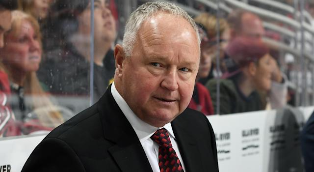 Randy Carlyle is feeling the pressure. (Photo by Norm Hall/NHLI via Getty Images)