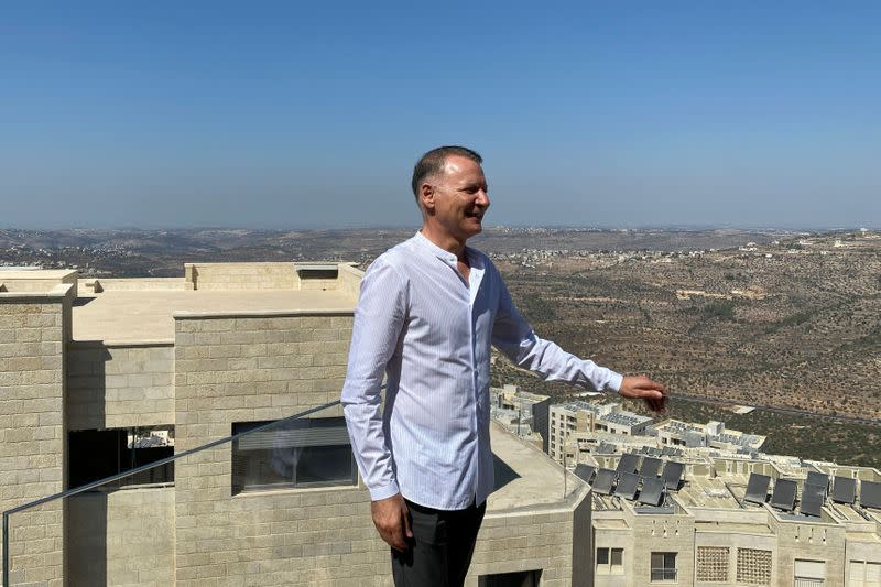 Bashar Masri, a prominent Palestinian businessman and founder of Rawabi, the first planned Palestinian city in the West Bank, poses during an interview with Reuters in Rawabi