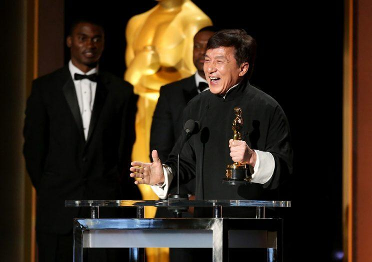 Honoree Jackie Chan accepts his award (Photo: Getty Images)