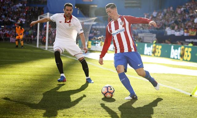 """<span class=""""element-image__caption"""">Fernando Torres returned from a head injury to help Atlético Madrid to close on Sevilla in the race for third spot in La Liga.</span> <span class=""""element-image__credit"""">Photograph: Francisco Seco/AP</span>"""