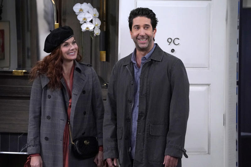"WILL & GRACE -- ""Supreme Courtship"" Episode 213 -- Pictured: (l-r) Debra Messing as Grace Adler, David Schwimmer as Noah Broader -- (Photo by: Chris Haston/NBC/NBCU Photo Bank via Getty Images)"