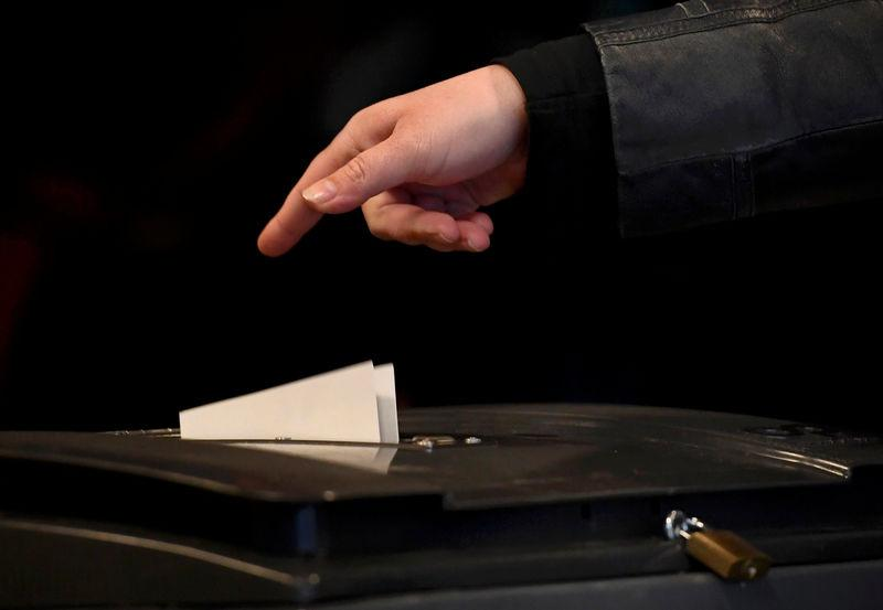 FILE PHOTO: A ballot is cast during the general election in a polling station in the Netherlands