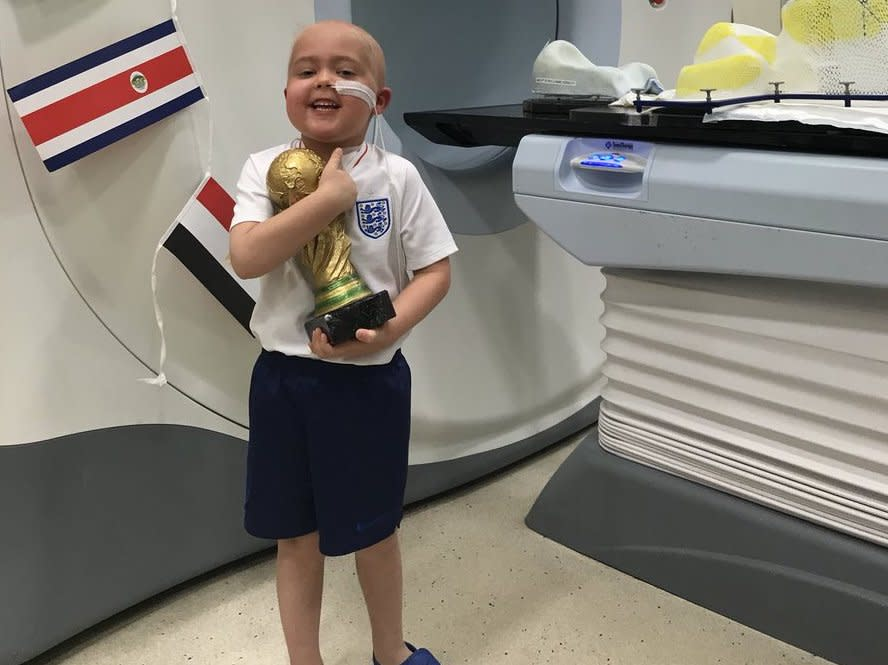 Ben Williams, a five-year-old battling a brain tumor, received an inspirational message from England captain Harry Kane after finishing six weeks of radiation. (Twitter/@LiamHerbert_)