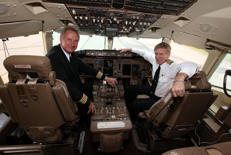 President Donald Trump's personal pilot, John Dunkin (left), is reportedly under consideration to lead the FAA. (Andrew Milligan - PA Images via Getty Images)