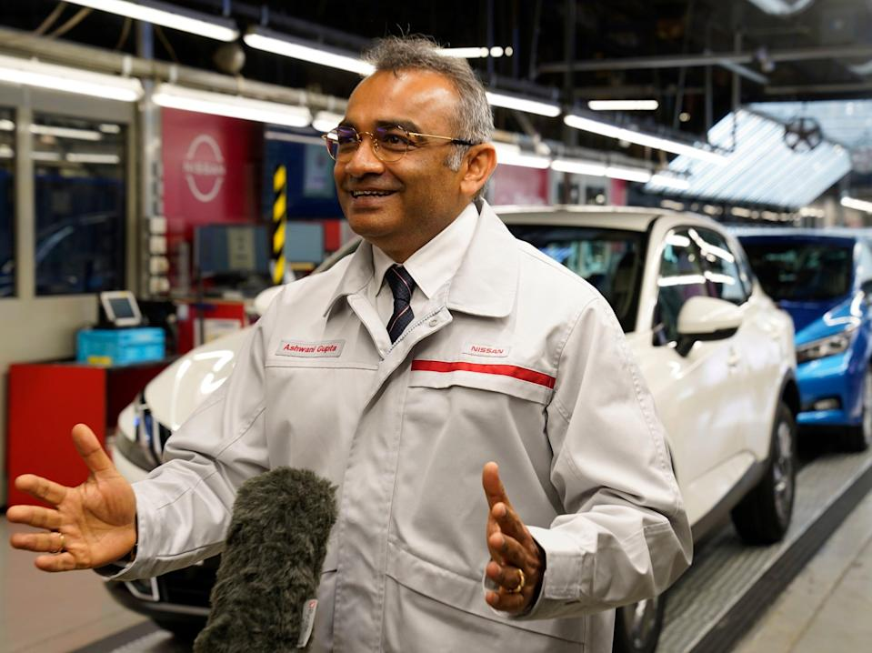 Nissan's chief operating officer Ashwani Gupta talks to the media in Sunderland after announcing the Japanese car giant's new venture (Owen Humphreys/PA)