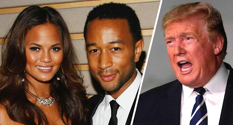 Chrissy Teigen, John Legend and President Trump. (Photos: Jemal Countess/WireImage for Time Inc., Alastair Pike/AFP/Getty Images)