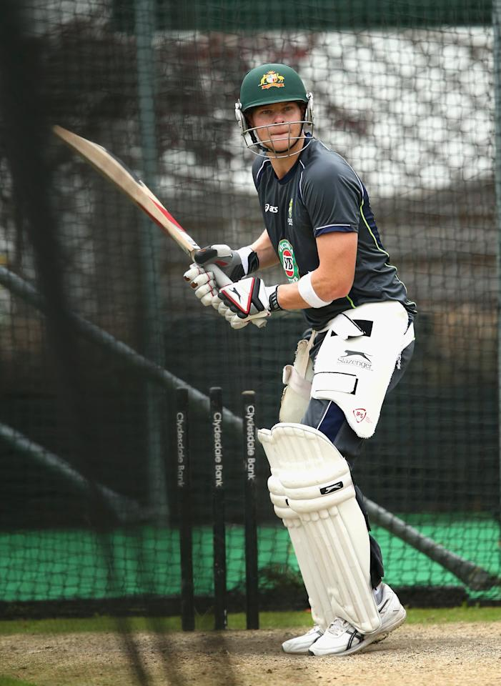 BRIGHTON, ENGLAND - JULY 25:  Steve Smith of Australia bats in the nets during an Australian Training Session at The County Ground on July 25, 2013 in Brighton, England.  (Photo by Ryan Pierse/Getty Images)
